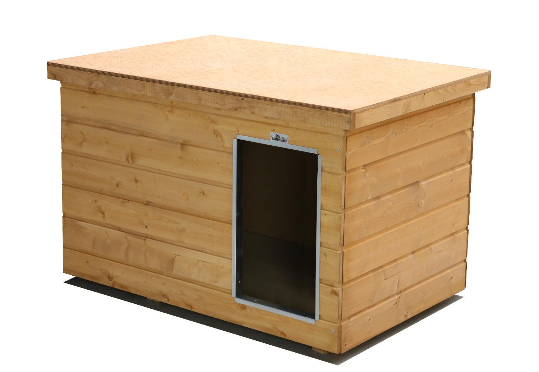 Original SAUERLAND Holz-Hundehütte, braun imprägniert | Flachdach Dickschicht | Eingang Längsseite | Größe Lassie