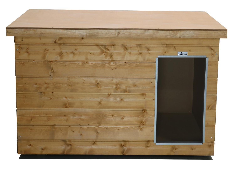 Original SAUERLAND Holz-Hundehütte, braun imprägniert   Flachdach Plus   Eingang Längsseite   Größe Dino