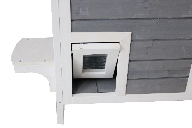 Katzenhaus mit 2 Etagen, Holz grau-weiß, 87 x 45 x 90,5 cm