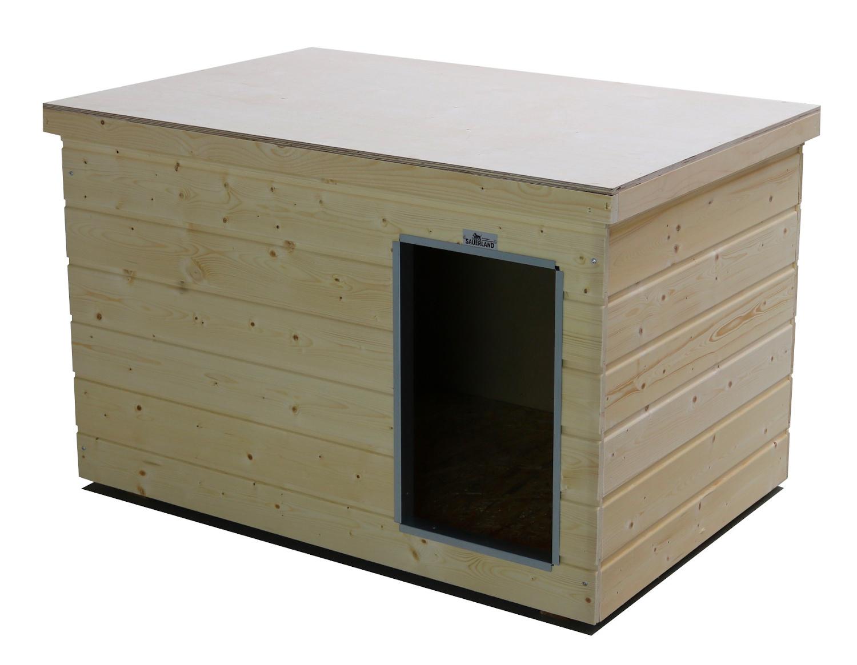 Original SAUERLAND Holz-Hundehütte naturbelassen | Flachdach Plus | Eingang Längsseite | Größe Lassie