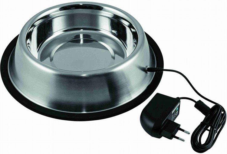 Beheizbarer Wassernapf / Futternapf  1,8 l, Edelstahl-Hundenapf mit 12V-Heizung