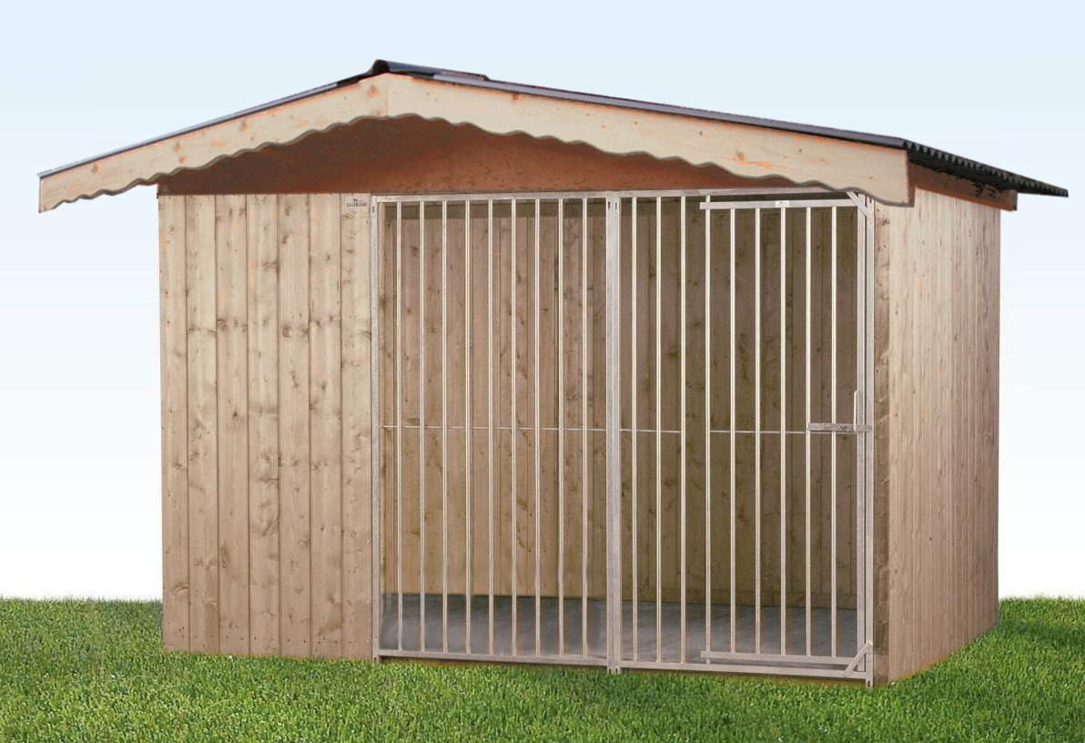 Wolfsburg Holz-Hundezwinger 2 x 3 m | Satteldach | naturbelassen | Rohrstab Abstand 8 cm