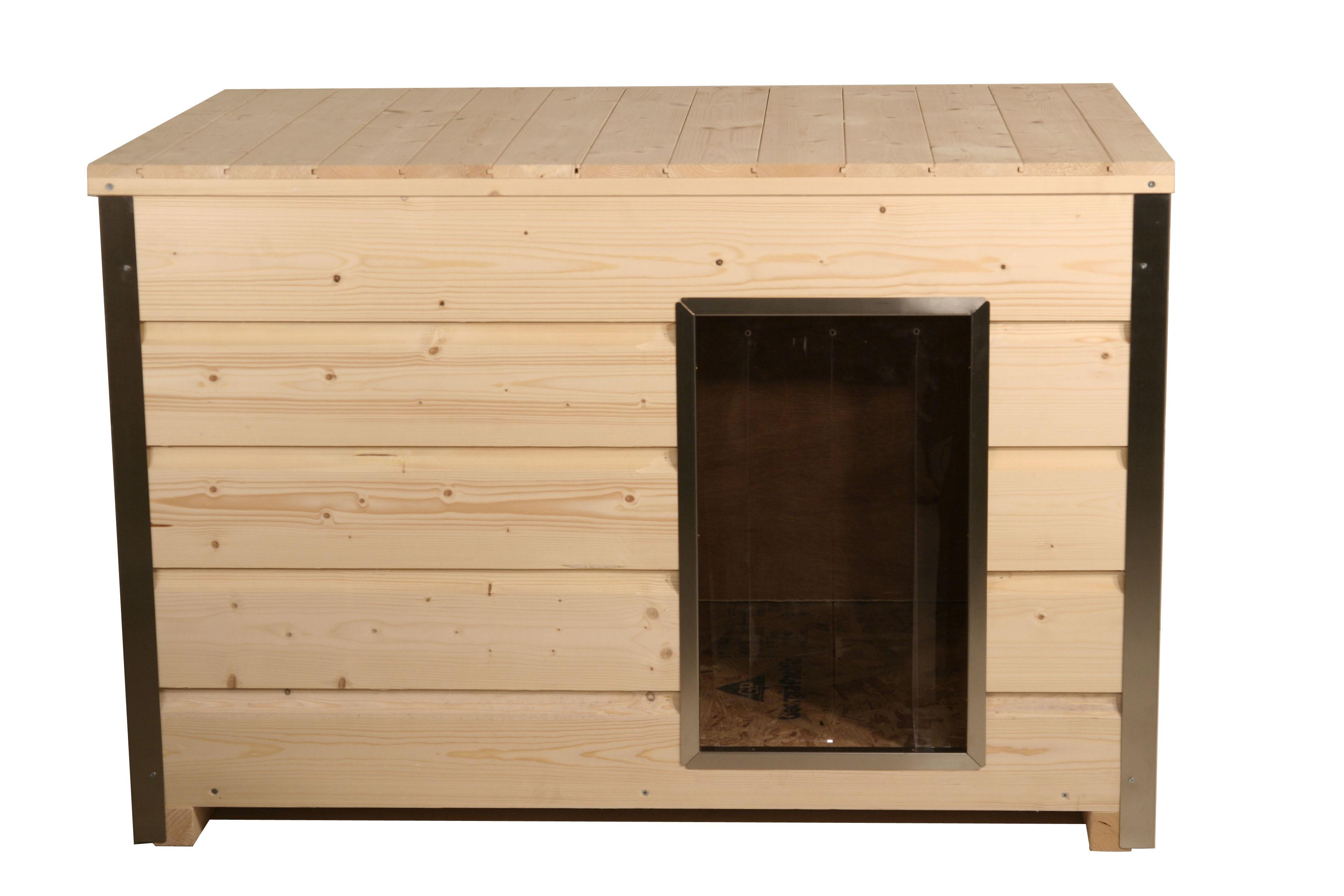 Holz-Hundehütte mit 30 mm Isolierung und Flachdach, naturbelassen, 116,5 x 78 x 75 cm