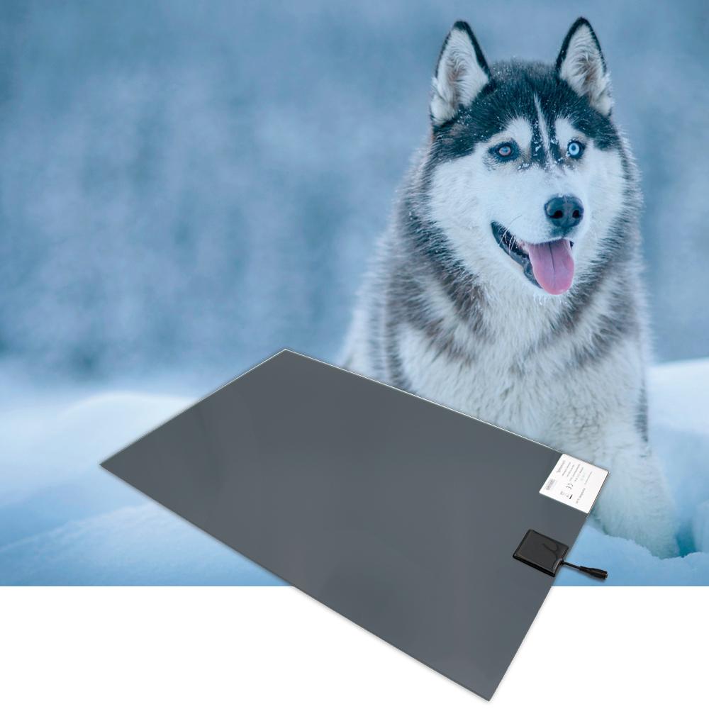 PVC-Wärmeplatte für Hunde, 40x60cm, 12V-Trafo und Bissschutz, Kabel absteckbar