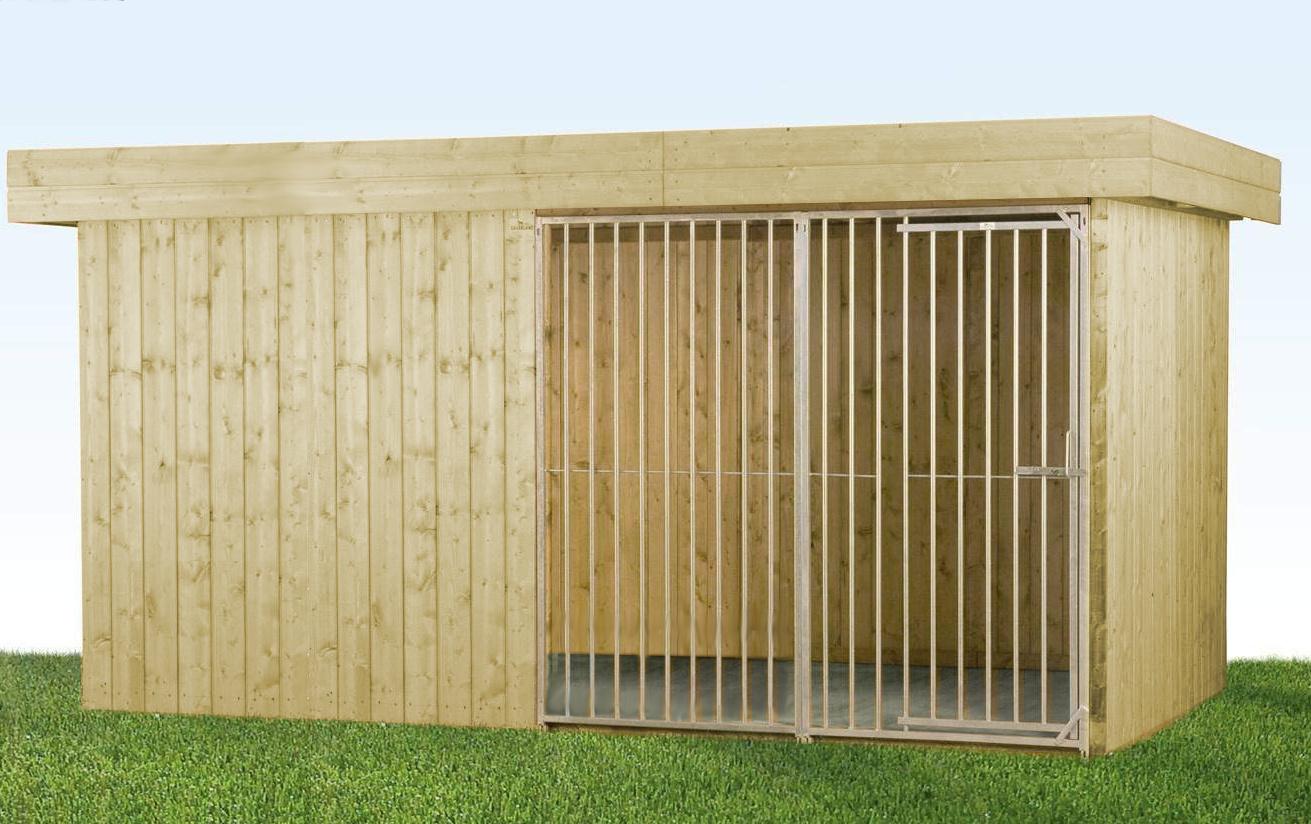 Villa Holz-Hundezwinger 2 x 4 m | Flachdach | naturbelassen | Rohrstab Abstand 8 cm