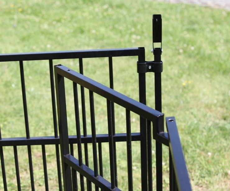 Colour Welpenauslauf 0,9 x 0,9 m Starterset schwarz, mit Doppeltür und Befestigungsklammern