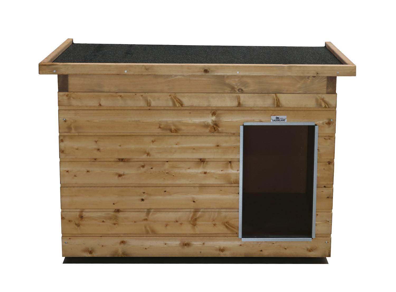 Original SAUERLAND Holz-Hundehütte, braun imprägniert | Pultdach Allwetter | Eingang Längsseite | Größe Lassie