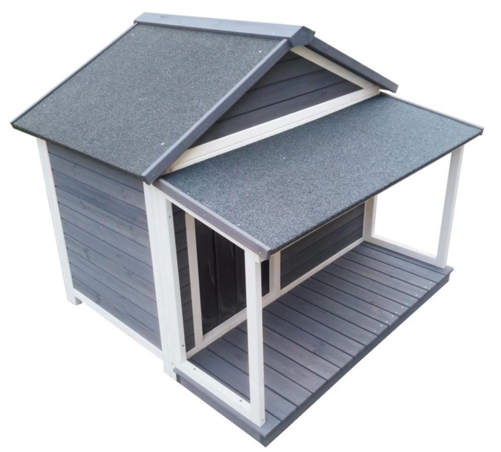 Holz-Hundehütte mit Satteldach und Veranda, grau-weiß lasiert, wetterfest