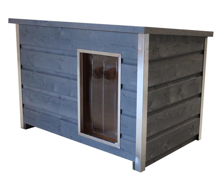 Wetterfeste Holz-Hundehütte grau mit aufklappbarem Flachdach, 110x70x80 cm