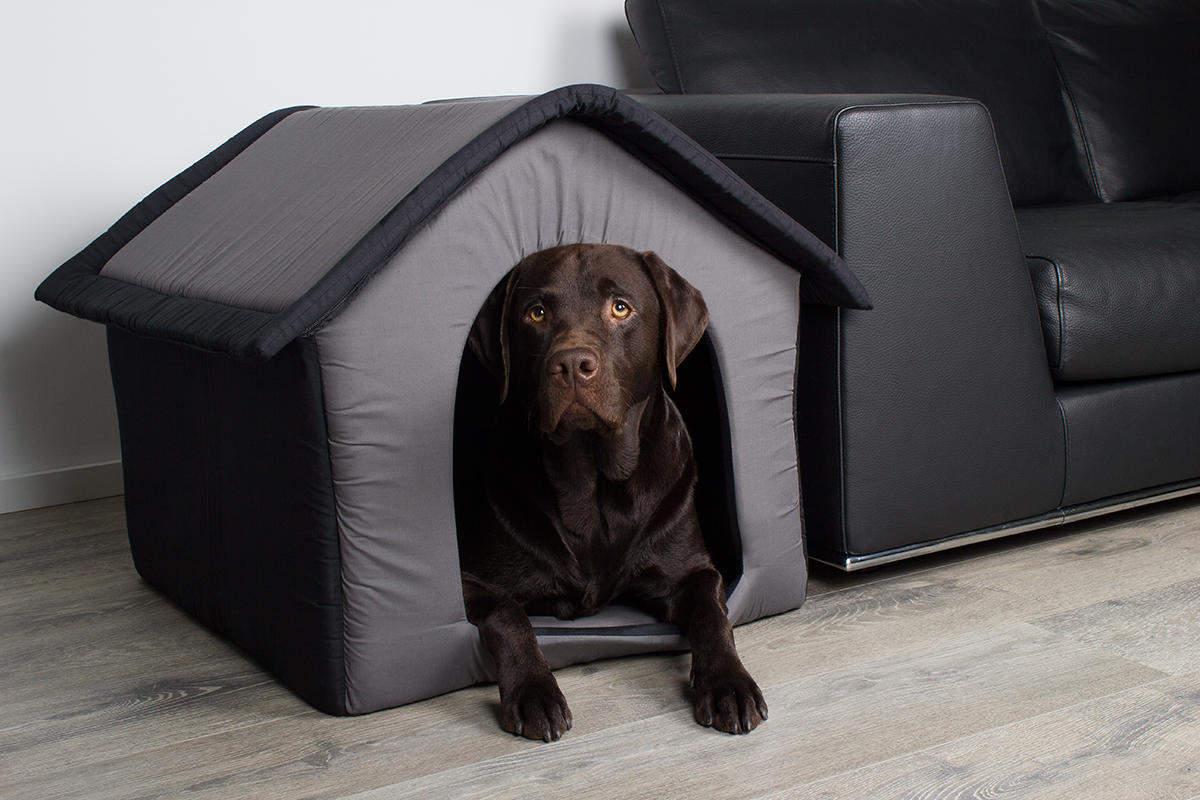 Stoff-Hundehütte / Hundehöhle, grau - L 64 x B 57 x H 60 cm