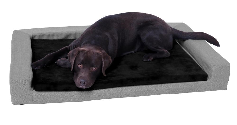 Hundekissen grau/schwarz, Memory Foam, große Liegefläche 120 x 80 cm