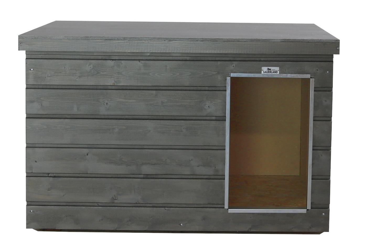 Original SAUERLAND Holz-Hundehütte graphitgrau | Flachdach Plus | Eingang Längsseite | Größe Lassie