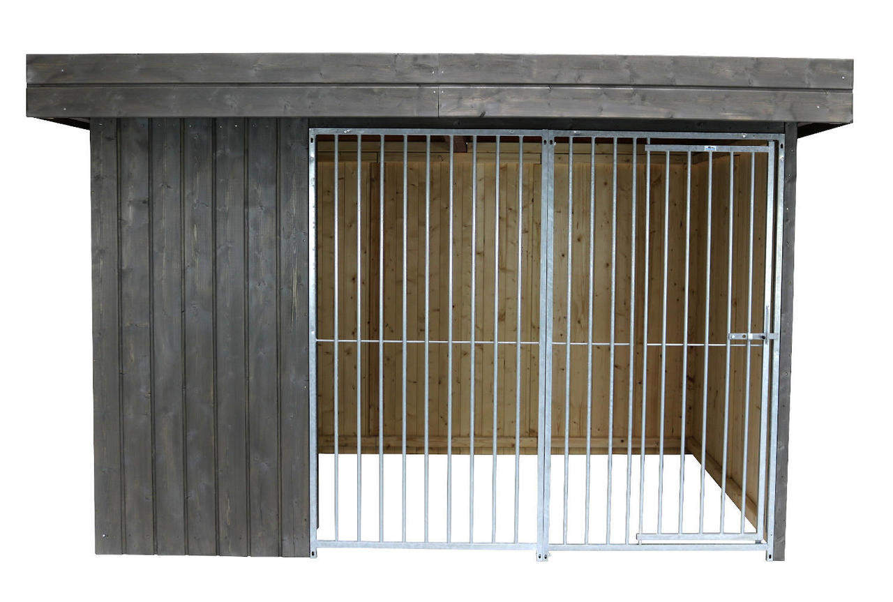 Villa Holz-Hundezwinger 2 x 3 m   Flachdach   Graphitgrau   Rohrstab Abstand 8 cm