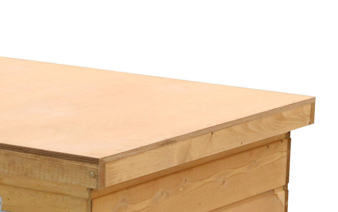 Original SAUERLAND Holz-Hundehütte mit Vorraum, braun imprägniert | Flachdach Plus | Eingang Längsseite | Größe Lassie