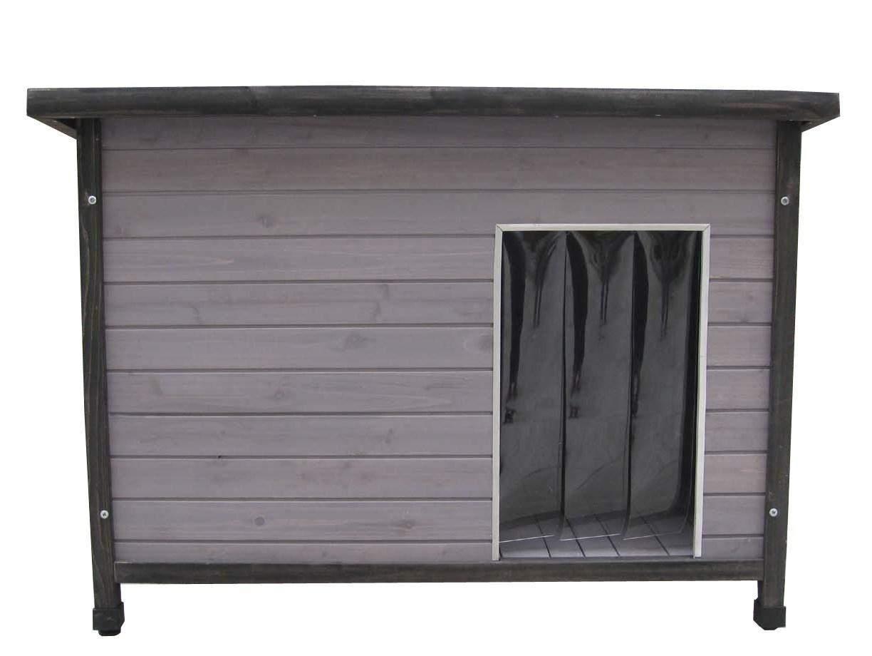 Moderne Holz-Hundehütte mit Flachdach. grau lasiert