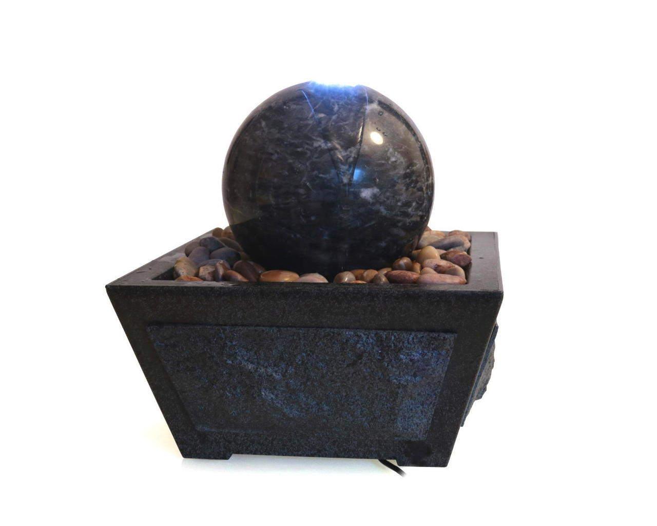 Wasserspiel mit Marmorkugel grün Ø 15 cm, Zimmerbrunnen