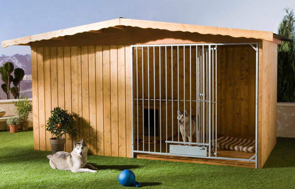 Holzzwinger Villa 2x4 m braun mit Zusatzausstattung gegen Aufpreis: Holzboden, Hundehütte und ausschwenkbares Futterset