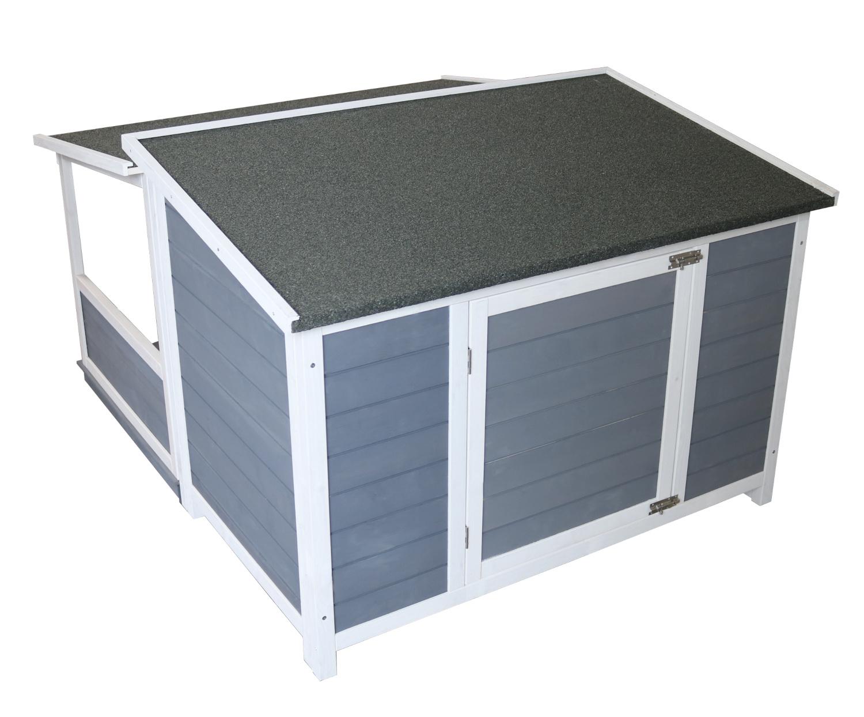 Holz-Hundehütte mit Pultdach und Terrasse, grau-weiß lasiert, wetterfest