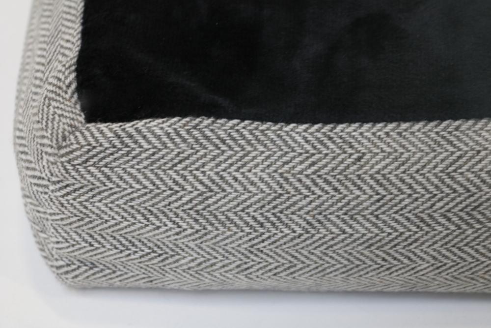 Hundekissen 120 x 80 cm schwarz/grau mit Muster, gelenkschonend, Memory Foam
