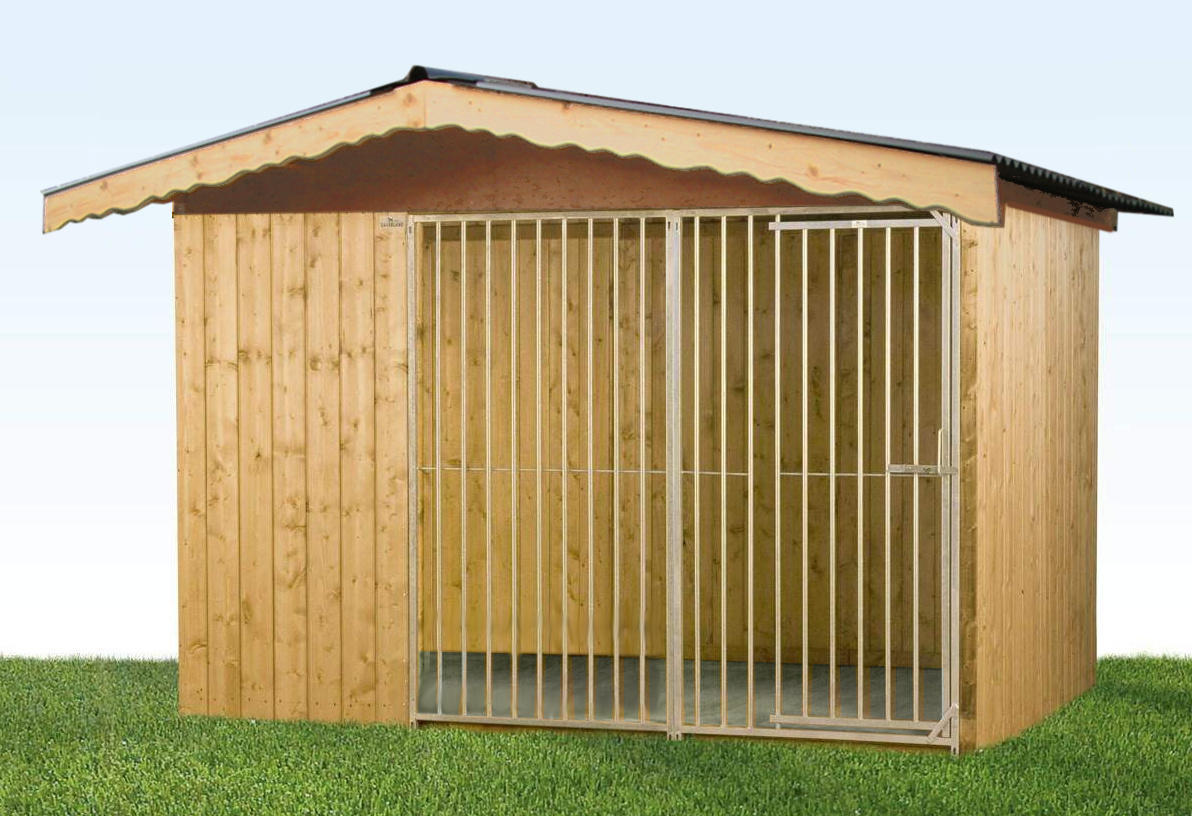 Villa Holz-Hundezwinger 2 x 3 m | Satteldach | braun | Rohrstab Abstand 8 cm