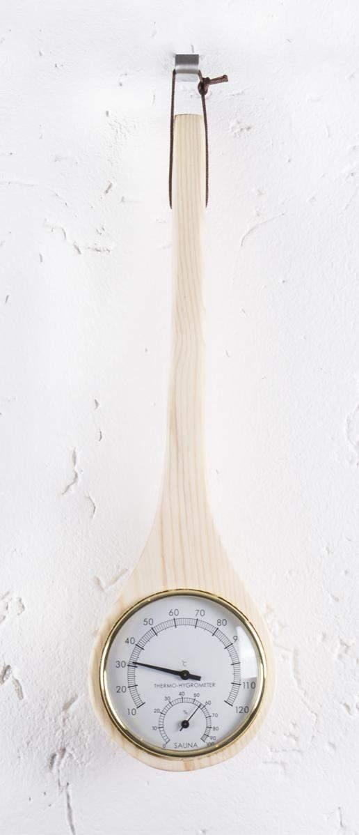 Sauna-Klimamesser aus Holz, Thermometer / Hygrometer in Schöpfkellen-Form