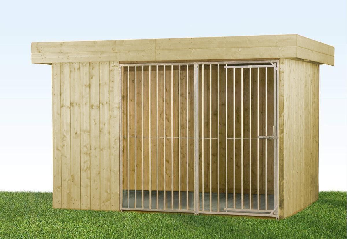 Villa Holz-Hundezwinger 2 x 3 m | Flachdach | naturbelassen | Rohrstab Abstand 8 cm