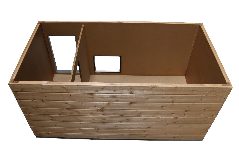 Original SAUERLAND Holz-Hundehütte mit Vorraum und Fenster, braun imprägniert   Flachdach Plus   Eingang Längsseite   Größe Napoleon
