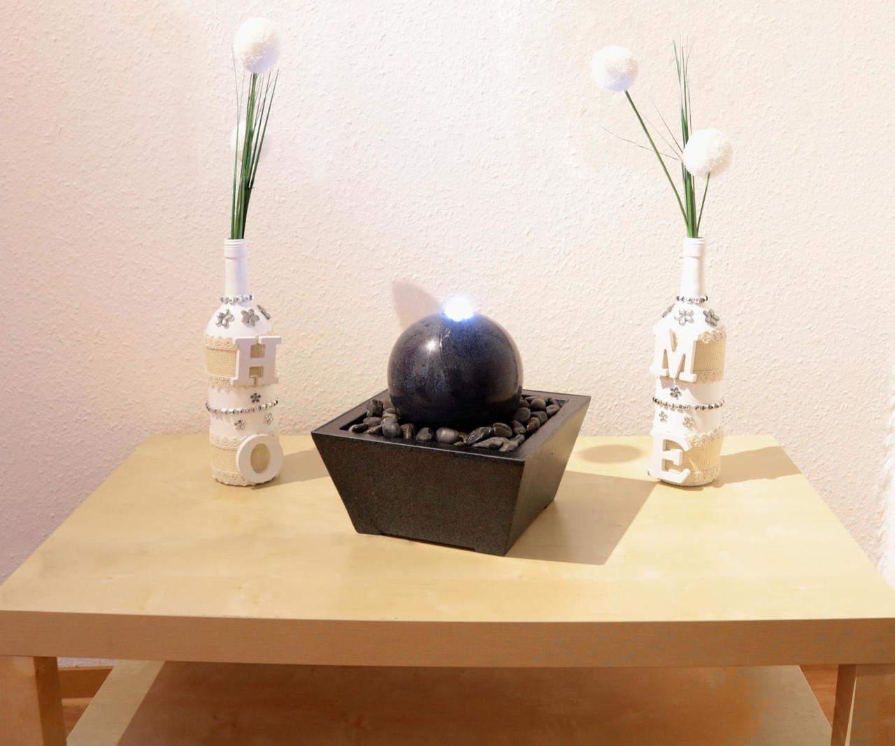Wasserspiel mit Kugel aus Granit Ø 15 cm, anthrazit, Zimmerbrunnen