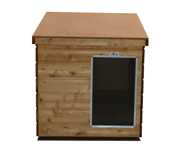 Original SAUERLAND Holz-Hundehütte, braun imprägniert   Flachdach Plus   Eingang Schmalseite   Größe Lassie