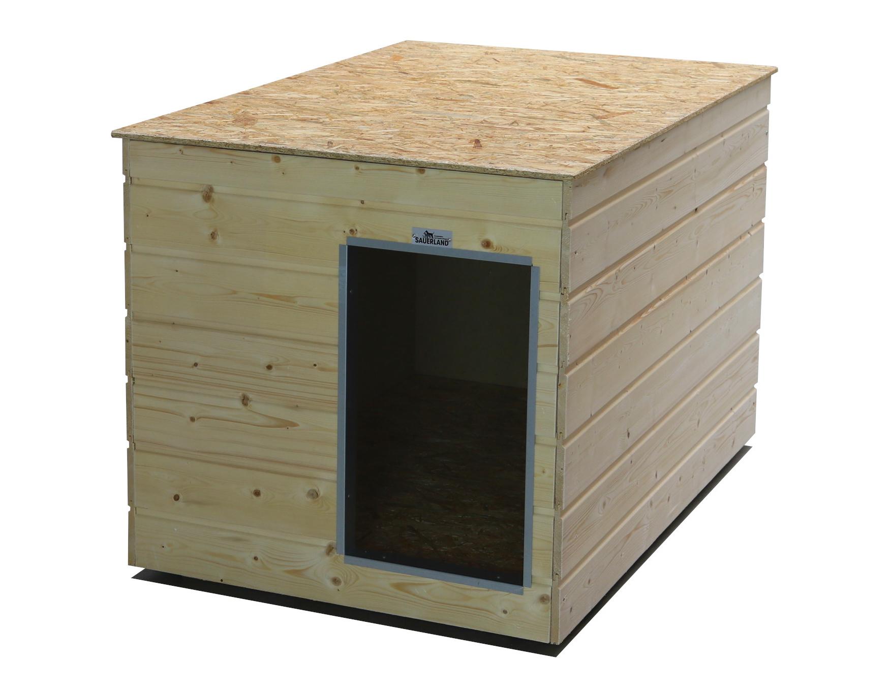 Original SAUERLAND Holz-Hundehütte naturbelassen   Flachdach   Eingang Schmalseite   Größe Lassie