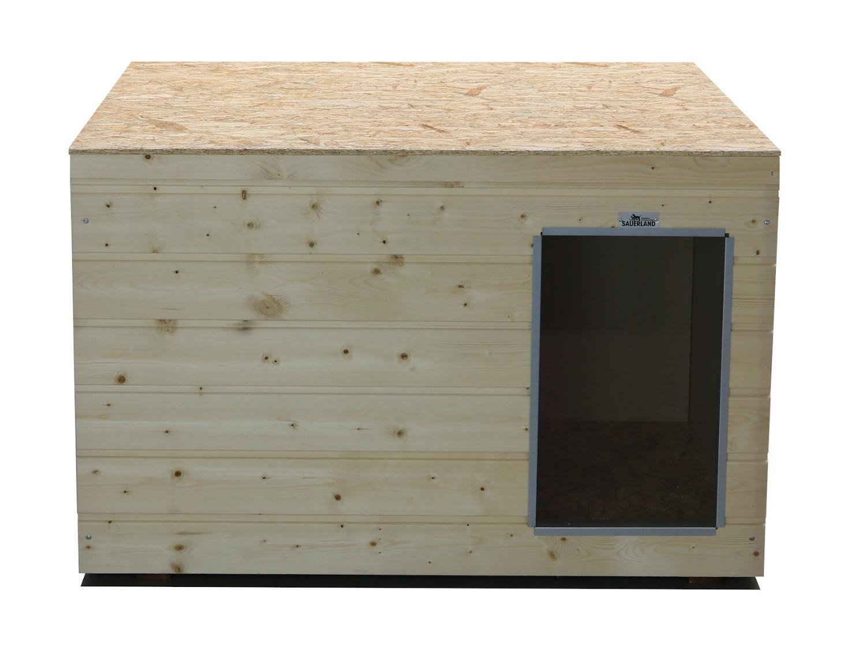Original SAUERLAND Holz-Hundehütte naturbelassen | Flachdach | Eingang Längsseite | Größe Lassie