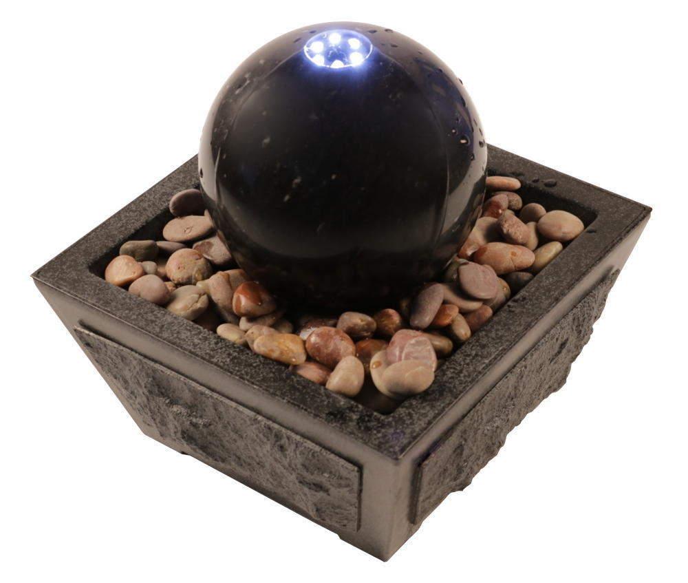 Wasserspiel mit Kugel aus Mrmor schwarz Ø 15 cm, Zimmerbrunnen