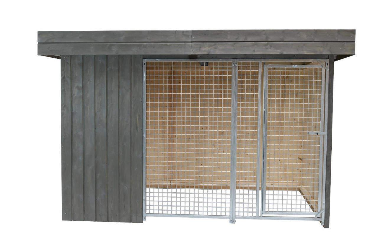 Villa Holz-Hundezwinger 2 x 4 m   Flachdach   Graphitgrau   Gitter