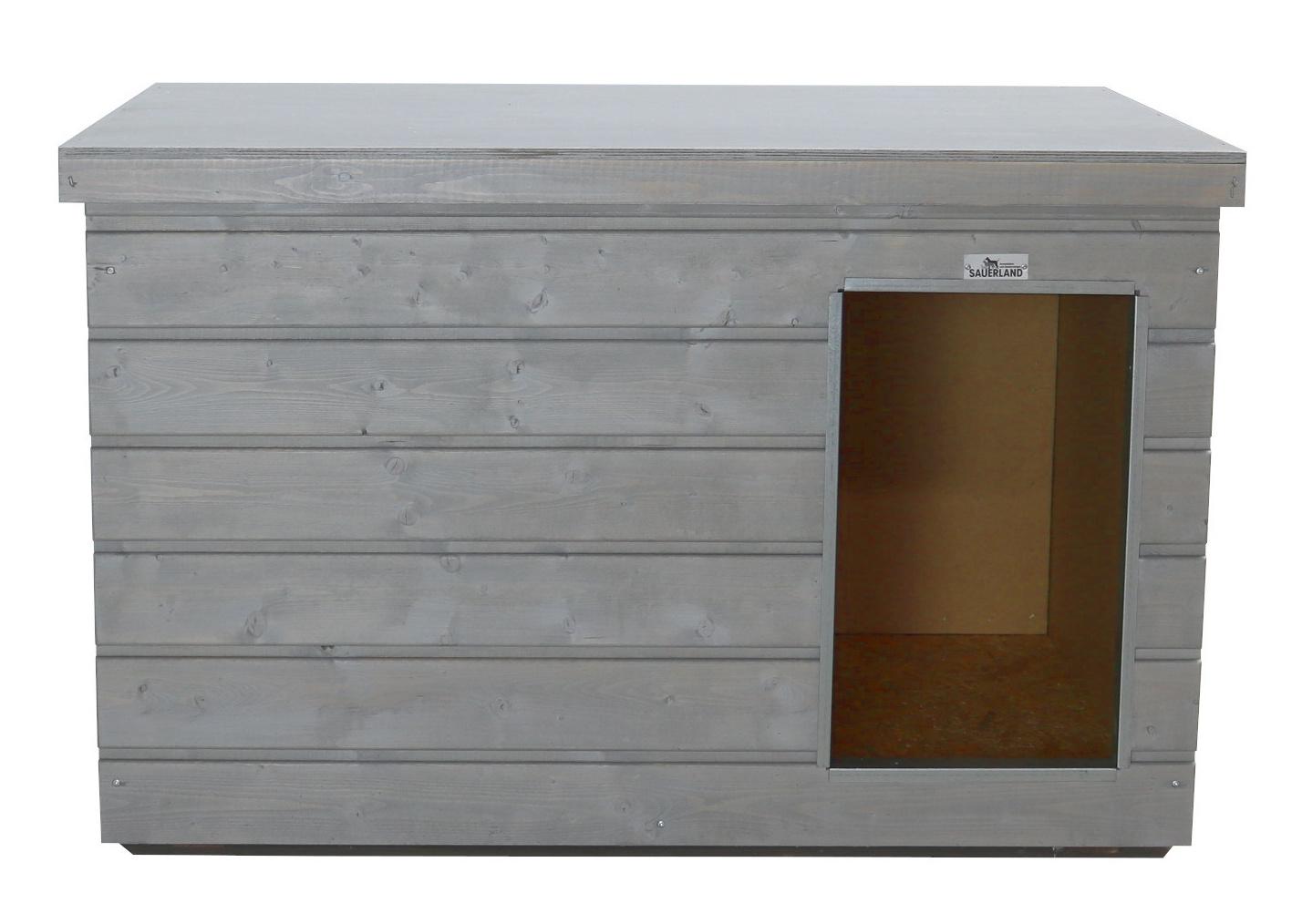 Original SAUERLAND Holz-Hundehütte platingrau | Flachdach Plus | Eingang Längsseite | Größe Lassie
