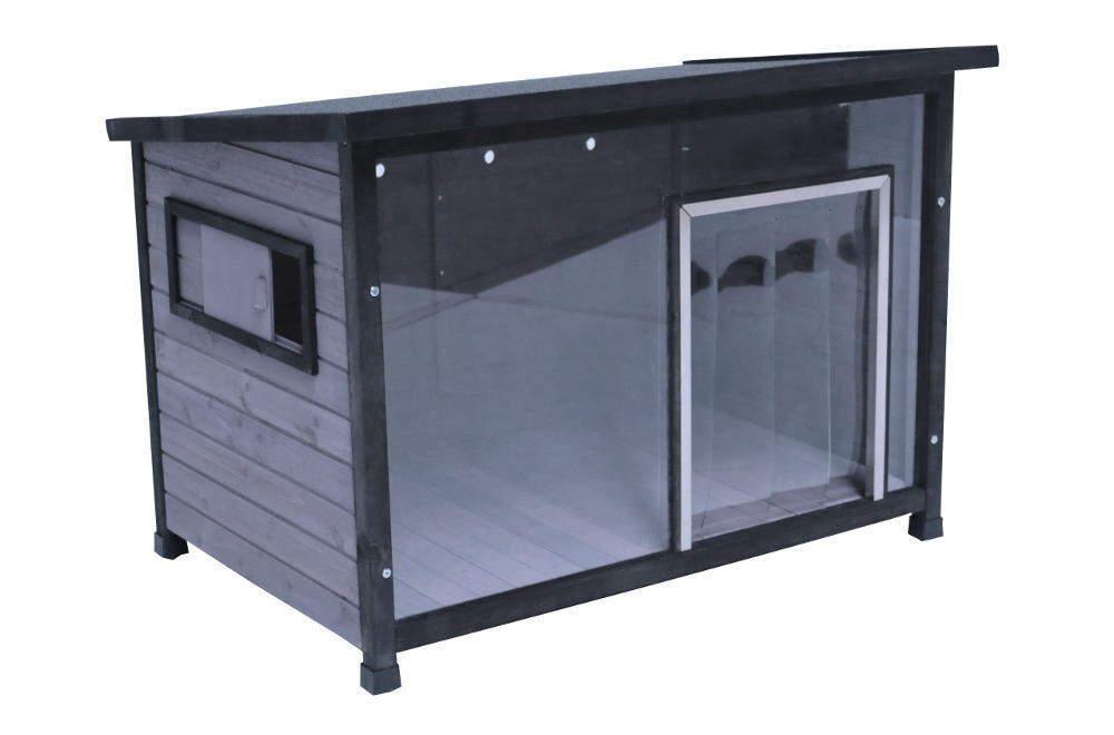 Hundehütte mit Acrylglas-Front, große Holz-Hundehütte grau